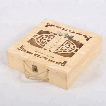 Vintage Finish Rustic Brown Wood Beer Bottle Storage Box Crate with Carrying Handles