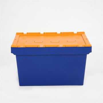 Industrial storage logistic nesting stackable heavy duty folding plastic attached lid container for caps