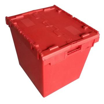 Plastic Attached Lid Solid Stacking Nestable Logistics Tote Box with lidcrate recycled loot container box with lid