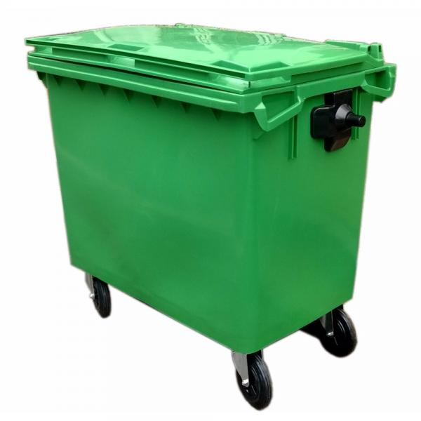 Park Usage Mobile PE Plastic with Lid Garbage Container #1 image