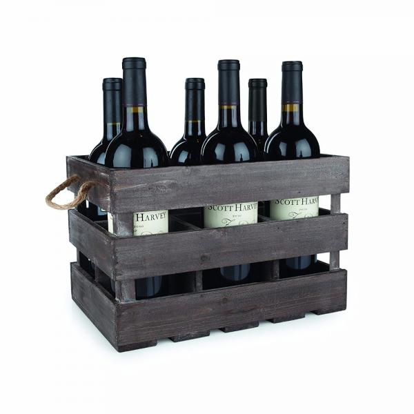 Vintage Finish Rustic Brown Wood Beer Bottle Storage Box Crate with Carrying Handles #2 image