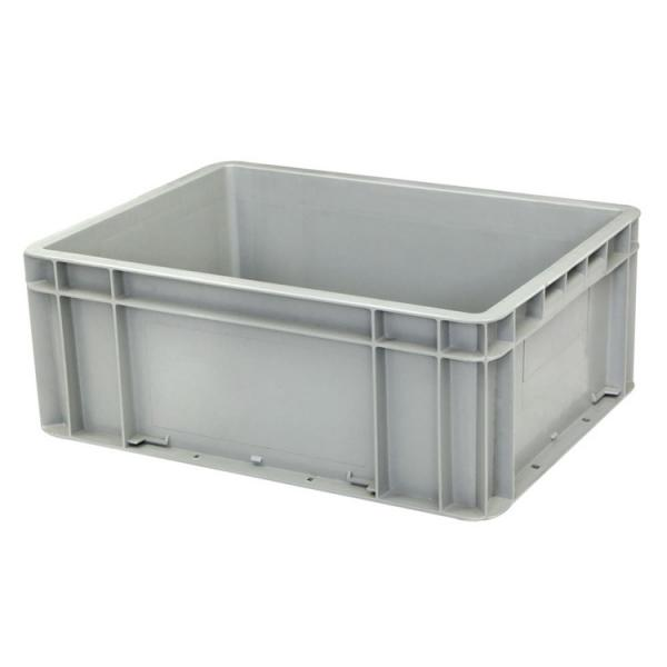 Plastic Attached Lid Solid Stacking Nestable Logistics Tote Box with lidcrate recycled loot container box with lid #3 image