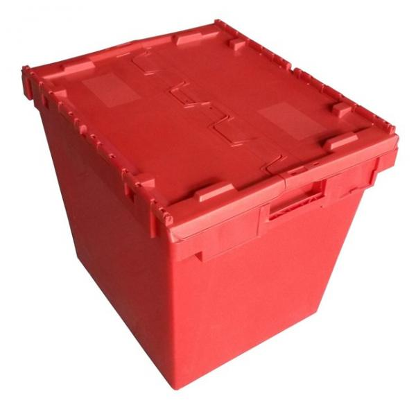 Plastic Attached Lid Solid Stacking Nestable Logistics Tote Box with lidcrate recycled loot container box with lid #2 image