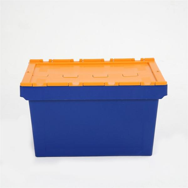 Industrial storage logistic nesting stackable heavy duty folding plastic attached lid container for caps #3 image