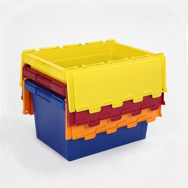 Plastic Attached Lid Solid Stacking Nestable Logistics Tote Box with lidcrate recycled loot container box with lid #1 image