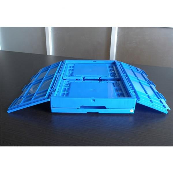 Recycled Green Plastic Storage Boxes With Lids Hinged , Attached Lids Container 500 X 330 X 236mm #1 image